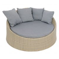 Pinto round bed 'off white'